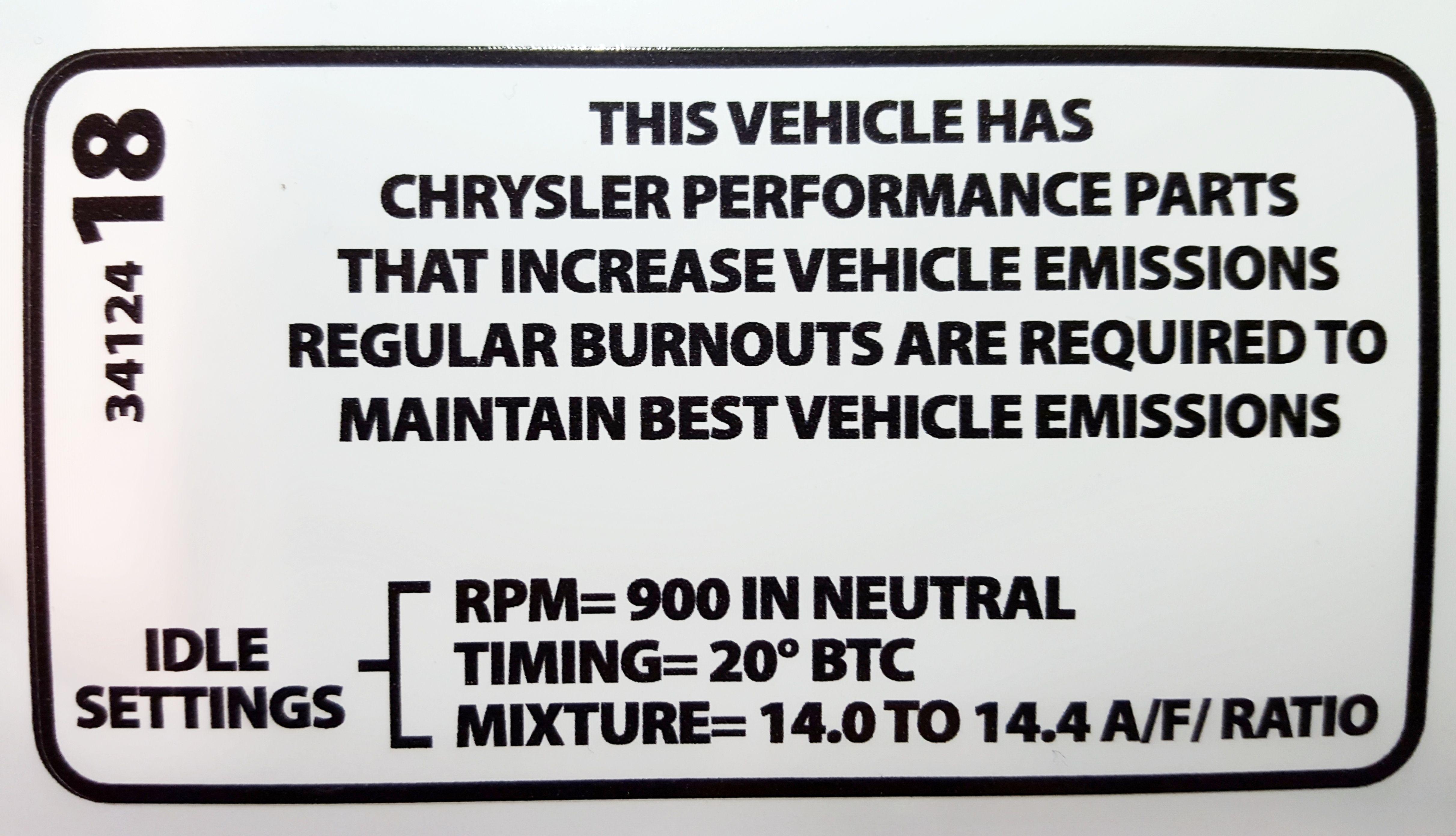 The Rev N Nator Revinater Revonator And R T Garage Mopar Electronic Ignition Kit Wiring Diagram Chysler Emissions Decal